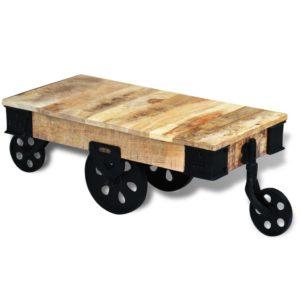 ratastega kohvilaud töötlemata mangopuidust