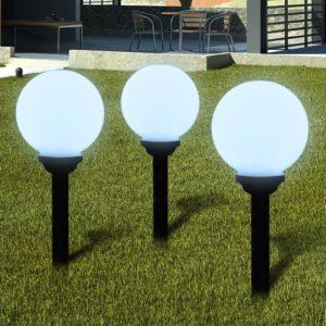 Õue aiapäikeselamp pallikujuga LED 20cm 3tk koos vaiadega