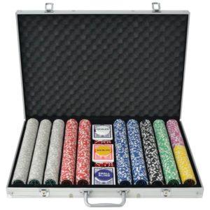 1000 laseržetooniga pokkerikomplekt alumiiniumkohvris