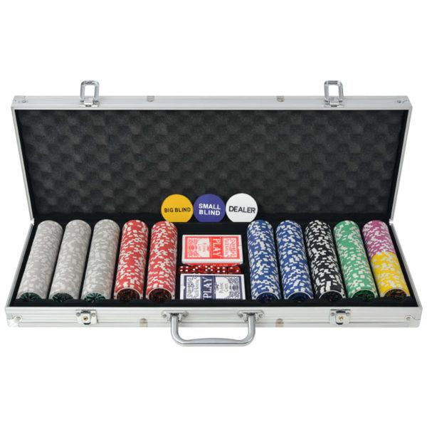 500 žetooniga pokkerikomplekt alumiiniumkohvris