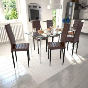 6 sihvaka tooli ja 1 klaaslauaga söögitoakomplekt