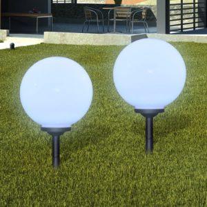 Aia päikeselamp pallikujuline LED 20 cm 3 tk koos vaiadega