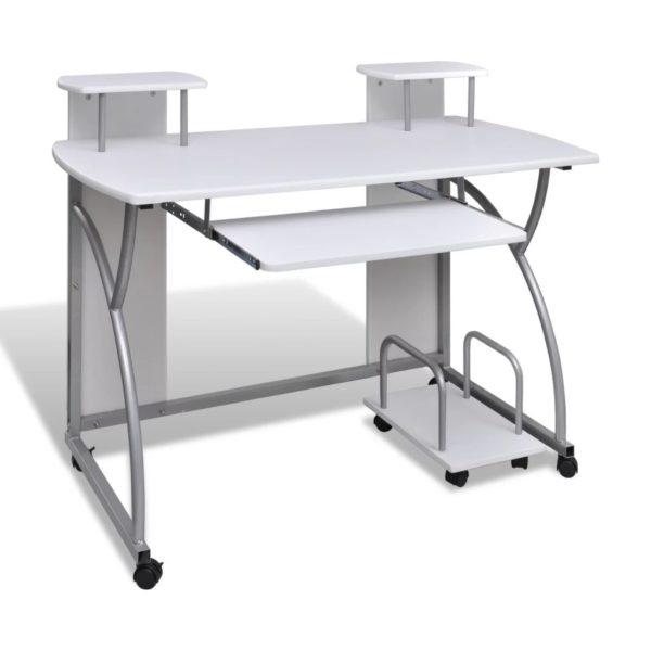 Arvutilaud väljatõmmatava klaviatuurialusega valge