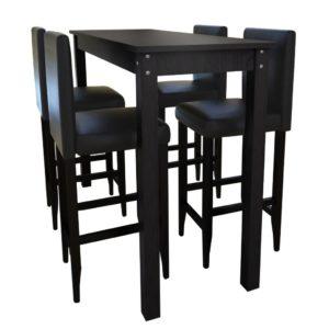 Baarimööblikomplekt laud + 4 tooli must