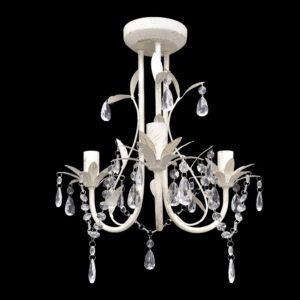 Elegantne kristallidega lühter valge