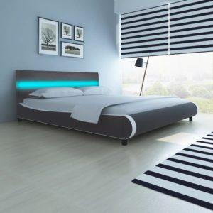 Hall kunstnahast polsterdusega voodi LED-tuledega peatsis 180 cm
