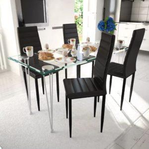 Köögitoolide ja laua komplekt 4 tooli üks laud must