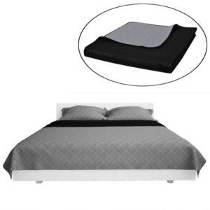 Kahepoolne tepitud voodikate must/hall 220 x 240 cm