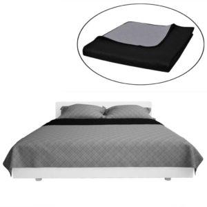 Kahepoolne tepitud voodikate must/hall 230 x 260 cm