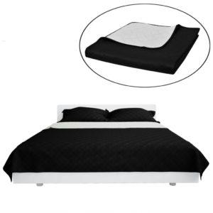 Kahepoolne tepitud voodikate must/valge 220 x 240 cm