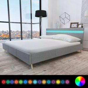 Kangapolsterdusega voodi LED-tuledega peatsis
