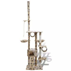 Kasside kraapimispuu 220 - 240 cm 1 majakesega beež käpajälgedega