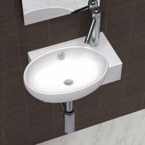 Keraamiline kraanikauss äravoolu ja kraaniga valge
