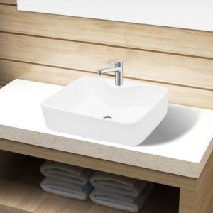 Keraamiline vannitoa valamu valge ruudukujuline
