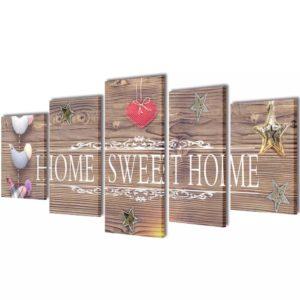 """Kirjaga """"Home sweet home"""" lõuend seinale 100 x 50 cm"""