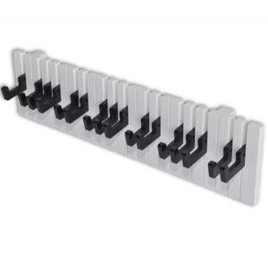 Klaveri klahvistiku disainiga seinale kinnitatav riidenagi 16 musta konksuga