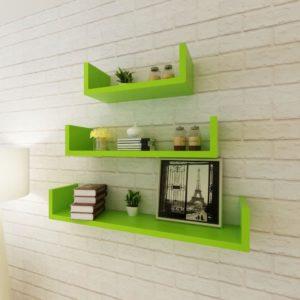Kolm rohelist MDFist U-kujulist hõljuvat seinariiulit