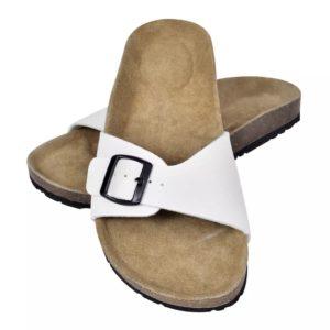 Korktallaga sandaalid 1 rihmaga mõlemale soole suurus 38 valge