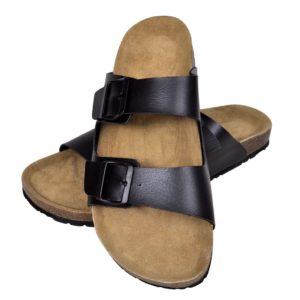 Korktallaga sandaalid 2 rihmaga mõlemale soole suurus 40 must