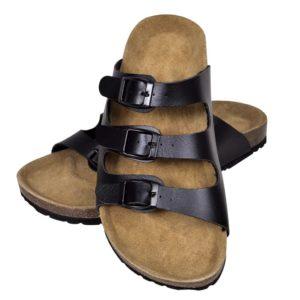 Korktallaga sandaalid 3 rihmaga unisex suurus 38 must