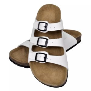 Korktallaga sandaalid 3 rihmaga unisex suurus 41 valge