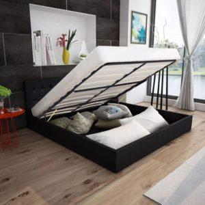Kunstnahast must hüdrauliline hoiukastiga voodi 140 cm