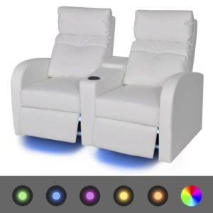 LED-tuledega diivan kahe istekohaga kunstnahast