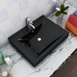 Luksuslik keraamiline kandiline valamu must 60 x 32 cm