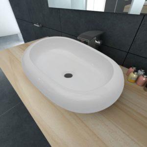 Luksuslik keraamiline kraanikauss ovaalsekujuga valge 63 x 42 cm
