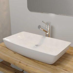 Luksuslik keraamiline kraanikauss ristkülikukujuline valge 71 x 39 cm