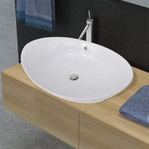 Luksuslik ovaalne keraamiline kraanikauss ülevoolu auguga 59 x 38