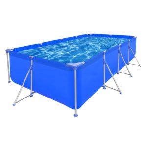 Maapealne bassein terasraamiga ristkülikukujuline 394 x 207 x 80 cm