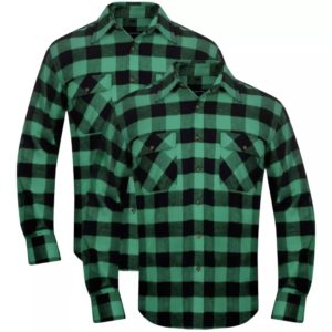 Meeste flanellsärk 2 tk XXXL rohelise-musta-ruuduline