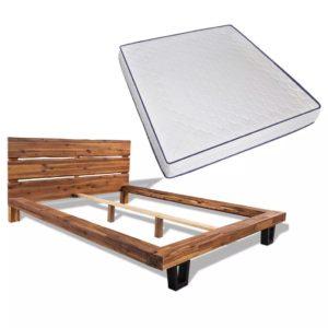 Memory Foam madratsiga akaatsiapuidust voodi
