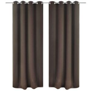 Metallrõngastega pimenduskardinad 2 tk 135 x 245 cm pruun