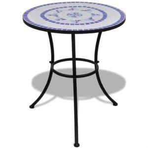 Mosaiikplaadiga laud 60 cm sinine/valge