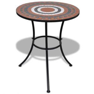 Mosaiikplaadiga laud 60 cm terrakota/valge