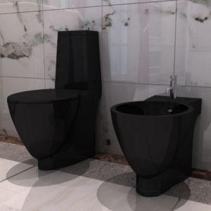 Must keraamiline tualettpoti ja bidee komplekt