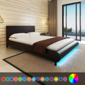 Must kunstnahast voodi LED-tuledega 200 x 140 cm + Memory Foam madrats