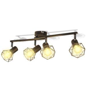 Must tööstuslikus stiilis laelamp nelja LED-pirniga