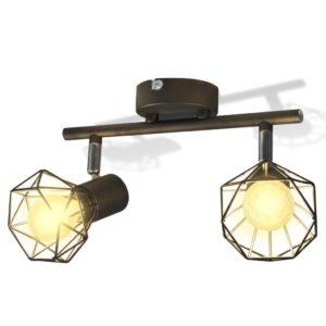 Must tööstuslikus stiilis sõrestikuga kohtvalgusti 2 LED-pirniga