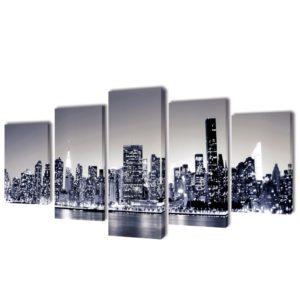 Must-valge New Yorgi siluetiga lõuend seinale 100 x 50 cm