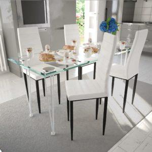 Neljast valgest peenest toolist ja ühest klaaslauast koosnev komplekt
