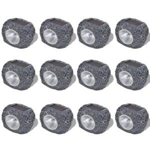 Päikesepatareiga õue LED-valgusti kivikujuga 12 tk