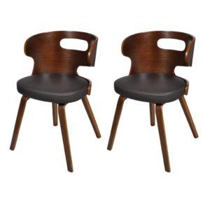Puidust söögitoa toolid kunstnahast istmega 2 tk