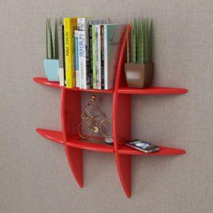 Punane MDFist seinale kinnitatav riiul raamatute/DVDde jaoks