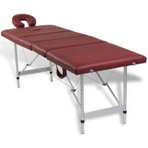 Punane kokkuklapitav massaažilaud alumiiniumraamiga