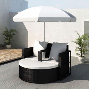 Rotangist aiamööblikomplekt päikesevarjuga must