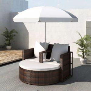 Rotangist aiamööblikomplekt päikesevarjuga pruun