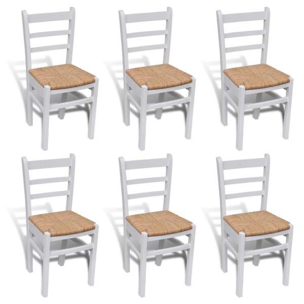 Söögitoa toolid 6 tk värvitud puit valge